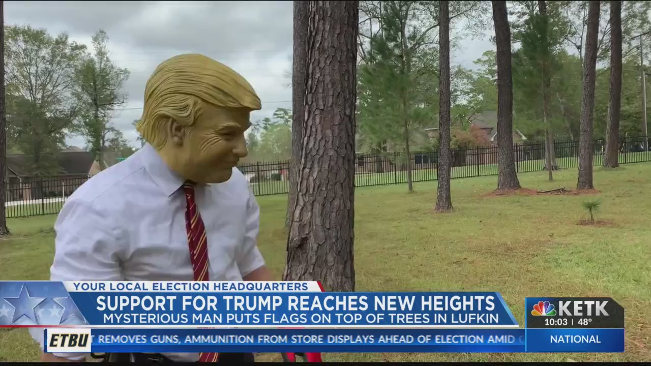 Lufkin tree climber dresses as President Trump and puts up flags around the city